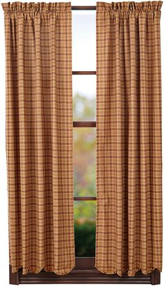 Declan Burlap Short Curtain Panels with Honeycomb Border 63
