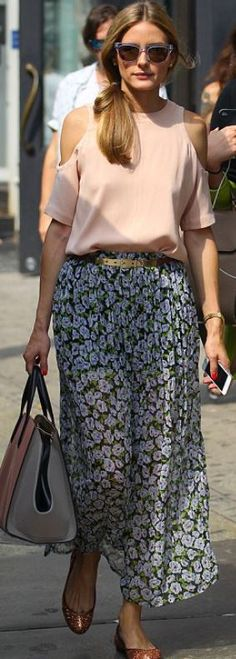 Who made Olivia Palermo's pink handbag, purple floral maxi skirt, and clear sunglasses? - OutfitID