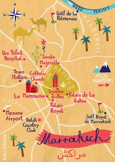 Illustrated map of Marrakech, Morocco by bianca tschaikner