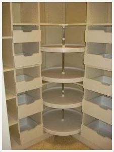 Lazy susan in the walk in closet dressing room, for shoes, purses etc. Great id… Lazy susan in the walk in closet dressing room, for shoes, purses etc. Master Closet, Closet Bedroom, Closet Space, Bathroom Closet, Attic Closet, Bathroom Mirrors, Master Bedroom, Kitchen Organization, Kitchen Storage