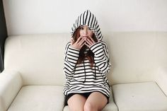 Stripe Hooded Top