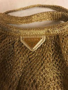 Prada borsa a mano a rete in tessuto metallico color oro, nuova, fondo di magazzino by inlove4vintage on Etsy