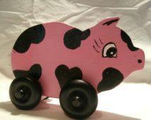 juguetes de madera, cerdo, juguete de madera sobre ruedas, granja aniamls…