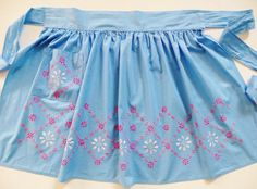 Vintage Mid Century Handmade Apron, Blue Cotton with Pink and White Embroidered Flowers, Retro 50s 60s Rockabilly Apron, gift for cook by TomCatBazaar on Etsy