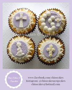 Communion Cupcakes for Girl Orange flavor 4 designs for a dozen Follow us: www.facebook.com/chioscakes Instagram: @chioscakesncupcakes  #Purple #Communion #PrimeraComunión #Cupcakes #CupcakeToppers #Cross #Rosario #Denario #Edible #CommunionCupcakes #ChiosCakesAndCupcakes #CupcakesParaPrimeraComunión #CustomOrders #CupcakesPersonalizados #CommunionToppers #EdibleToppers