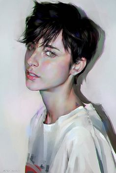 """Study"" - Yanjun Cheng, 2015 {figurative realism art female head woman face portrait digital painting #loveart}"