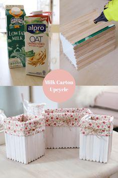 recycle that Upcycled Milk Carton DIY. Recycle your milk cartons into cute floral storage baskets. Milk Carton Crafts, Carton Diy, Milk Cartons, Recycled Decor, Upcycled Crafts, Diy Crafts, Recycled Tires, Recycled Furniture, Handmade Furniture