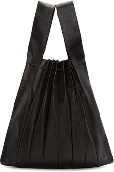 Yohji Yamamoto - Black Pleated Leather Tote