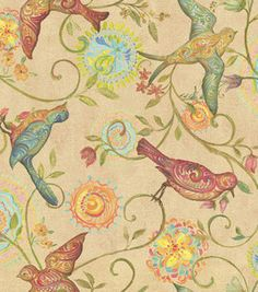 "[Painted Wings Bird Fabric]   Plan to make two pillows (Ikea 26"" x 26"" and a smaller pillowform that I'll make) for the upstairs living room.  Also should have enough leftover to make matching sofa table runner."