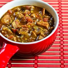 Paleo Pork and Green Chile Stew from the Denny Family Superbowl Party - at last! Pork Recipes, Slow Cooker Recipes, Paleo Recipes, Mexican Food Recipes, Crockpot Recipes, Dinner Recipes, Cooking Recipes, Bariatric Recipes, Entree Recipes