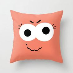 Orange Kid's Monster Throw Pillow Cover Includes Pillow