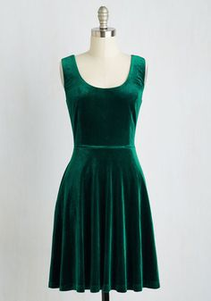 Amplify the attitude of your typical party attire by flaunting this emerald green skater dress! An exclusive style to ModCloth, this perfect-fit frock features essential side pockets and a soft velvet construction, making it a seasonal staple you'll always love styling.