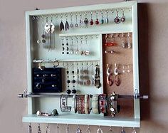 Jewelry organizer. earrings holder. jewelery rack necklace holder. Light PISTACHIO display. wall mounted jewelry storage. MULTIPLE COLORS.