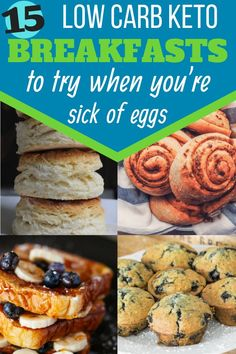 Sick of bacon and eggs for breakfast on your keto diet? Try this 15 awesome low carb keto breakfasts! Keto Egg Recipe, Easy Keto Bread Recipe, Lowest Carb Bread Recipe, Keto Cream Cheese Pancakes, Keto Biscuits, No Bread Diet, Best Keto Bread, Quick Keto Breakfast, Breakfast Recipes