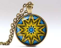 Gorgeous Indie pendant in bronze or silver finish. Amazing Hipster necklace with a chain or a leather cord. Unique Mandala jewelry.  SIZE: 25 mm (1