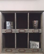 Wooden Wall Cabinet Shabby Chic Storage Shelf Unit 6 Pigeon Hole