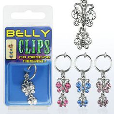 Clip-On-Navel-Fake-Illusion-Clips-Belly-Button-Jewelry-No-Piercing-Butterfly-USA