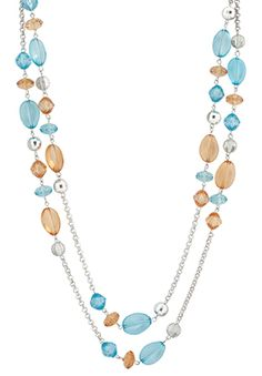 Beach colors dressed up with a little shine. The Connor necklace, $39. www.guyandeva.com/kimsarver