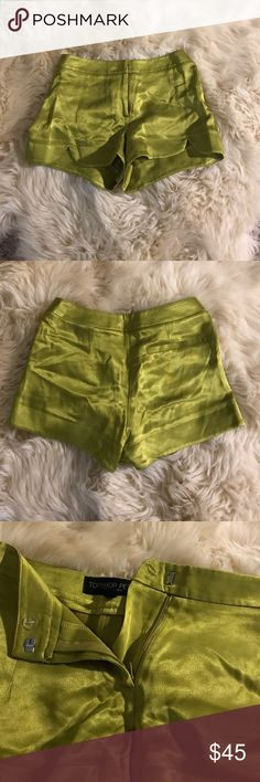 Topshop Petite Lime Green Shorts lime green silky shorts Topshop PETITE Shorts