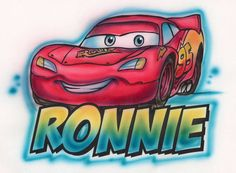 Lightening Mcqueen airbrushed t-shirt Adult and kid sizes. $12.00, via Etsy.