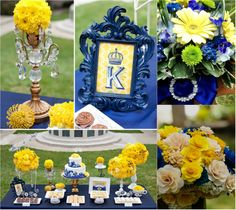 Top 4 royal Blue Wedding Ideals! Love the tablescape, but with hot pink instead of yellow