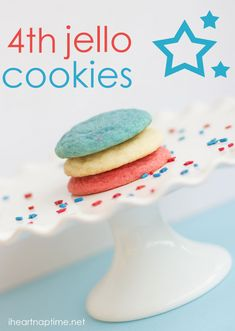 Fourth of july jello cookies... these are always a hit! These would be fun in pastel colors for bridal and baby showers