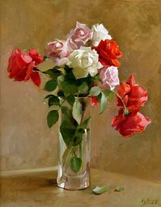 Floral oil painting by our founder, Larry Gluck. Art Floral, Floral Artwork, Deco Floral, Rose Oil Painting, Realistic Oil Painting, Oil Painting On Canvas, Still Life Flowers, Flower Oil, Still Life Art
