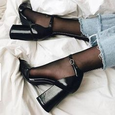 Black Suede Block Heels Almond Toe Platform Ankle Strap Pumps for Night club, Dancing club, Music festival, Big day, Hanging out Stilettos, Stiletto Heels, High Heels, Shoes Heels, Pumps, Black Heels, Heels With Socks, Footwear Shoes, Black Suede