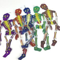 Cut Tin Dangling Skeletons Day Of The Dead Art Mexico Style Recycle