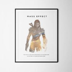 Mass Effect Inspired Double Exposure Poster Print - Video Game Art