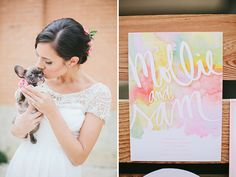 watercolor inspiration on greenweddingshoes!  floral: the southern table, floral + event design // photo: lauren peele photography // planning + design: french knot studios // sweets: sugar bee sweets // muah: tracy melton makeup // paper flowers: blomes paperie // dress: de ma fille // stationery:  miss wyolene // venue: 809 at vickery, ft. worth   http://greenweddingshoes.com/whimsical-watercolor-wedding-inspiration/