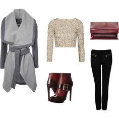 """""""grey coat # version 2"""" by inainthecity on Polyvore"""