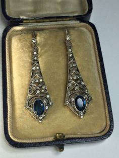 A Pair of Silver and Paste Edwardian Earrings by mitaineshop on Etsy