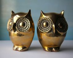 Brass Owl Bookends. Vintage Golden Lovelies