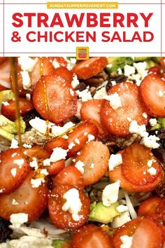 My Strawberry Chicken Salad with Honey Balsamic Dressing uses light, wholesome, and simple ingredients for a flavorful meal! With sweet, juicy strawberries, shredded rotisserie chicken, feta cheese, and an easy homemade red wine vinaigrette, every bite is deliciously snappy and fresh. Ready in minutes! via @thesundaysupper Dinners To Make, Dinner Salads, Easy Salads, Vegetable Side Dishes, Chicken Salad, Salad Recipes, Dinner Recipes, Strawberry, Healthy