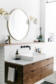Copy Cat Chic Room Redo A modern wood and brass bathroom seen on SF Girl by Bay gets recreated for less by copycatchic luxe living for less budget home decor and design House Bathroom, Interior, Brass Bathroom, Round Mirror Bathroom, Bathroom Interior, Modern Bathroom Vanity, Bathrooms Remodel, Bathroom Decor, Beautiful Bathrooms
