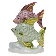 """Herend Hand Painted Porcelain Figurine """"Pair of Fish"""" Raspberry Key Lime Fishnet Gold Accents."""
