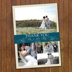 Collage Wedding Thank You Photo Card  by gwenmariedesigns on Etsy, $15.00