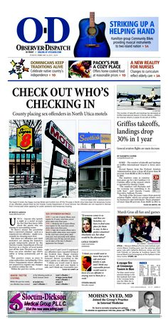 The front page for Sunday, Feb. 24, 2013: Check out who's checking in