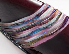 Fused Glass Bowl - Deepest Plum with Sinuous Strips of Blue Green Grey and Light Plum
