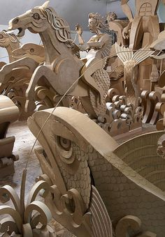 """""""James Grashow's enormous cardboard sculpture is inspired by Bernini's famous Trevi Fountain in Rome. He believes that """"creation and destruction are married to each other,"""" so the work will be installed outdoors on The Aldrich's front terrace where it will weather and disintegrate. """""""