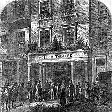 The Adelphi Theatre during the Georgian period. Named after the Adelphi Buildings, a block of 24 unified neoclassical terrace houses occupying the land between and the