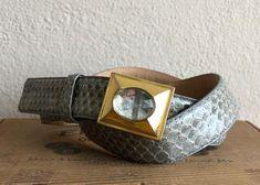 Gray Snakeskin Belt Skinny Leather Gold Buckle Vintage | Etsy