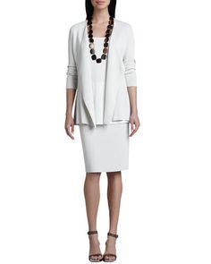 Eileen Fisher Silk-Cotton Interlock Sweater Jacket, Jersey Long Tunic & Straight Skirt
