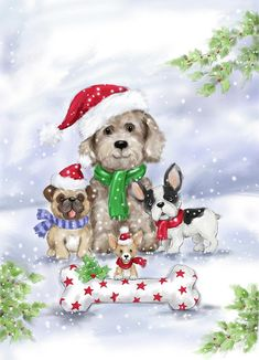 Christmas Greeting Cards, Valentine Day Cards, Christmas Greetings, Christmas Animals, Christmas Dog, Vintage Christmas, Canvas Artwork, Canvas Art Prints, Christmas Drawing