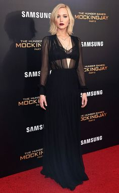 Jennifer Lawrence from The Hunger Games: Mockingjay Part 2 Premieres In a Schiaparelli with Eva Fehren jewelry.