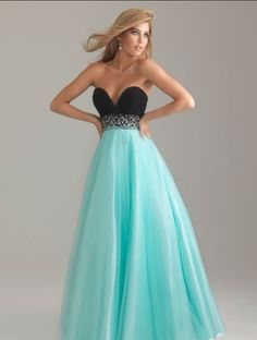 Black and long blue skirt dress with a sparkly silver belt