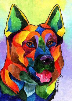 Colorful German Shepherd by Sherry Shipley