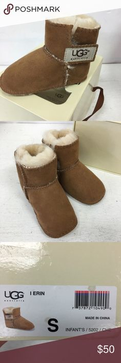 Ugg Erin Booties Chestnut NEW NIB S Small 6-12 Mo Ugg Erin Booties Chestnut NEW NIB S Small 6-12 Mo  Beautiful booties!  New in box though plastic shield on box is coming loose.  GORGEOUS!  #ugg #uggs #erin #chestnut #new #nib #booties UGG Shoes Boots