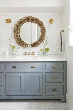 dusty blue bathroom paint color #Bathroomcabinets
